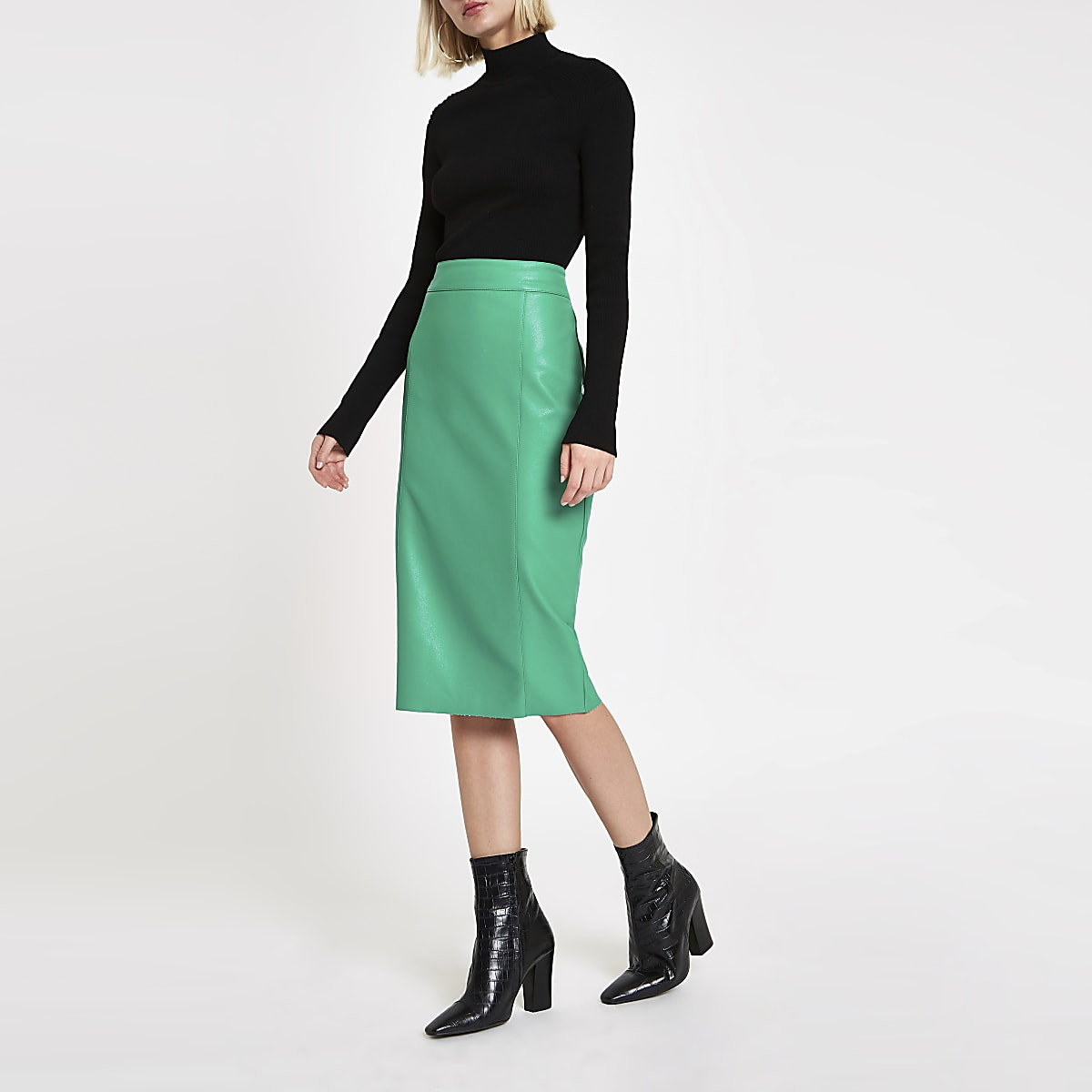 Bright green faux leather pencil skirt