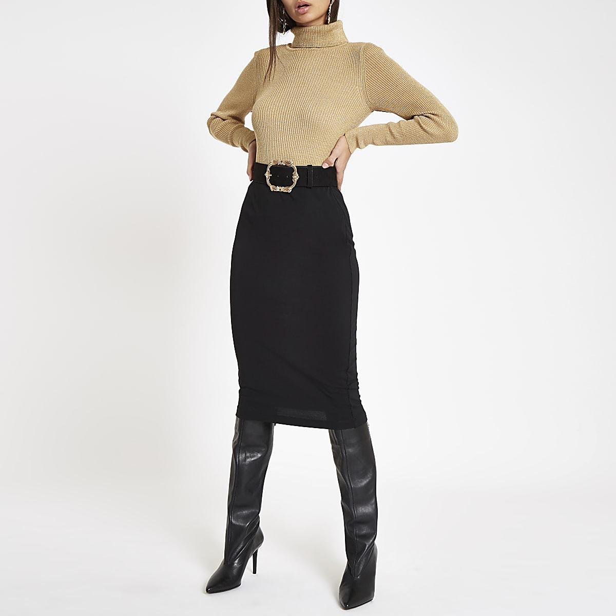 57fbfc458c44df Black jersey pencil skirt