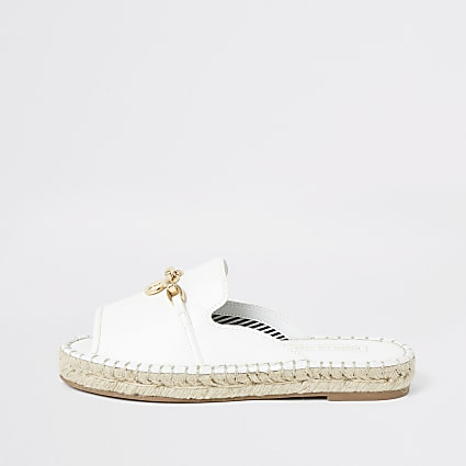White espadrille peep toe sandals