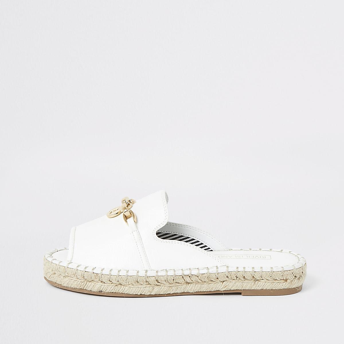 White espadrille peep toe sandals