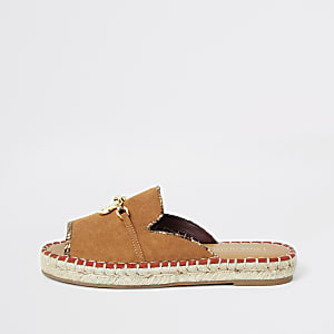 Brown espadrille peep toe sandals