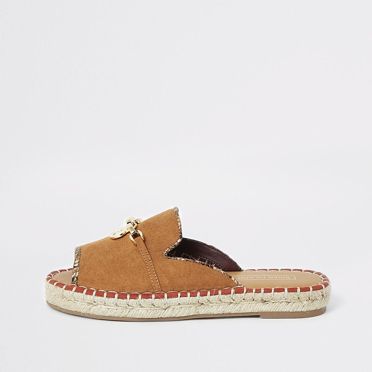 Brown espadrille peep toe sandals