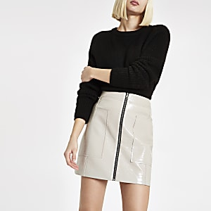 Grey vinyl zip front mini skirt
