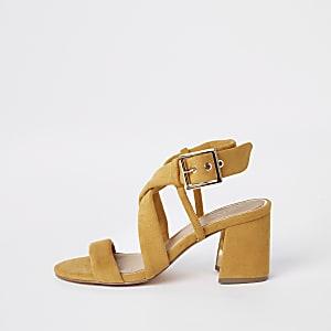 Yellow tie strap block heel sandals