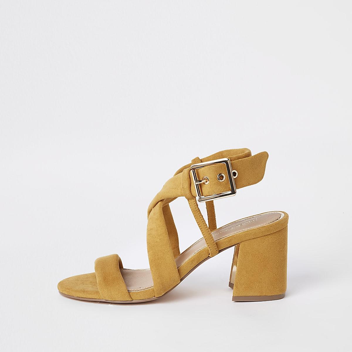 d89f345a5bb Yellow tie strap block heel sandals