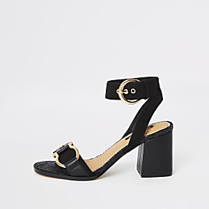 Black buckle front block heels
