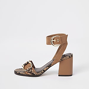 Brown snake print block heel sandal