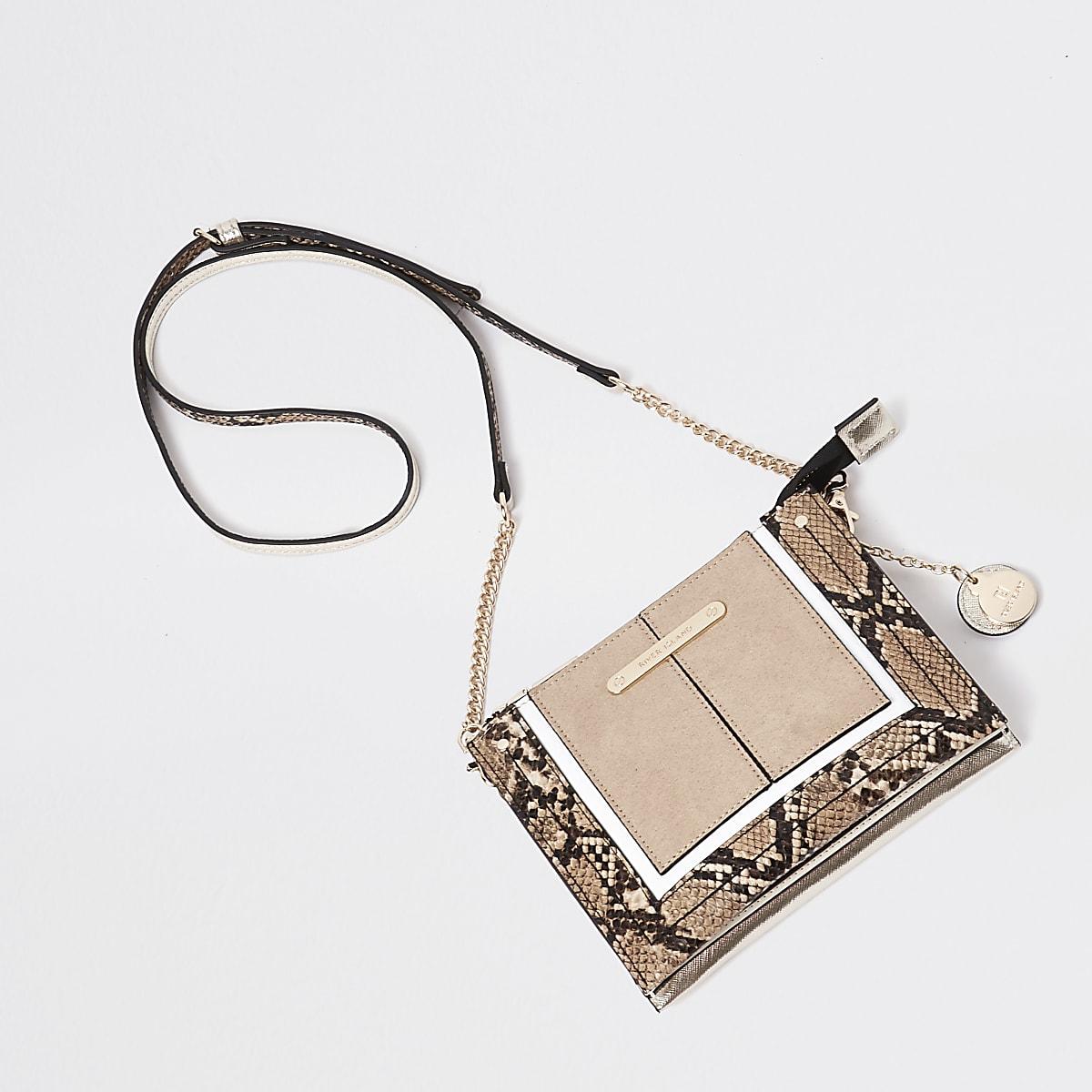 Cream snake print mini cross body pouch bag