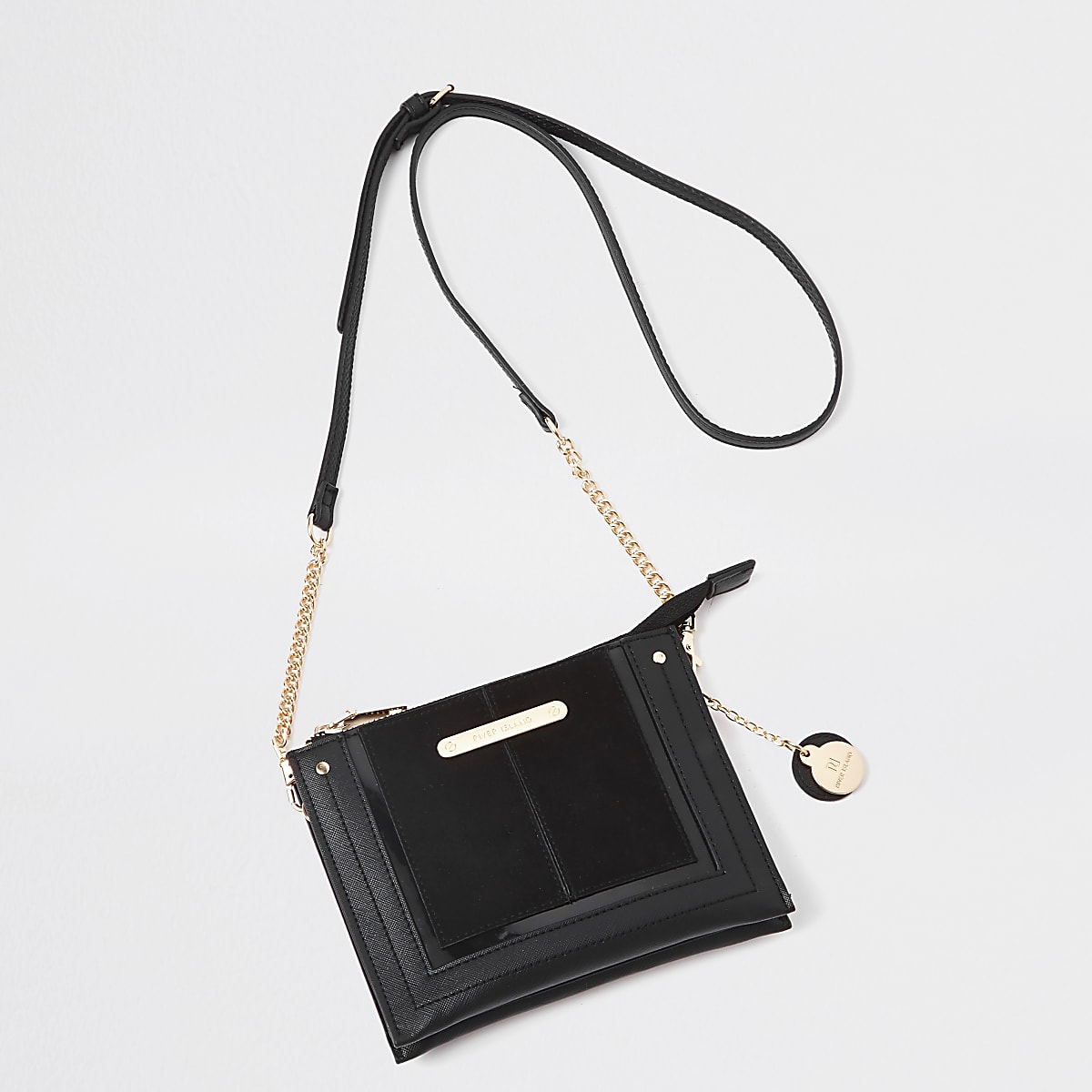 Black mini zip cross body pouch bag