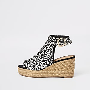 Brown leopard print wedge sandals