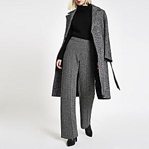 Black tweed check wide leg trousers