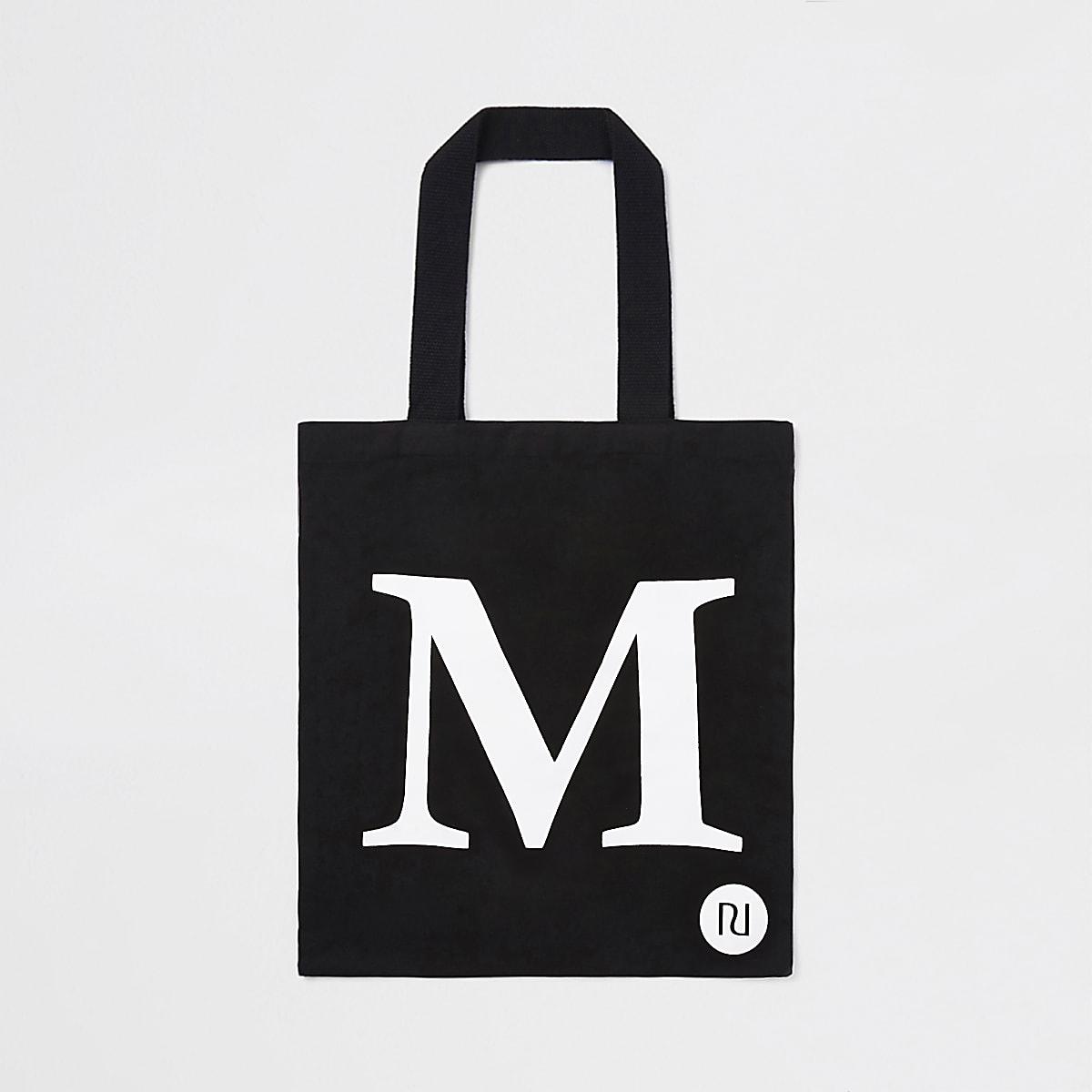 Zwarte shoppertas met 'M'-initiaal