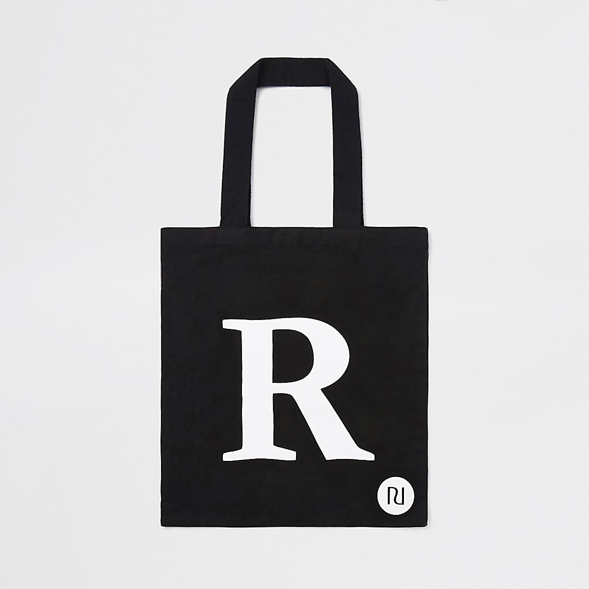 Black 'R' initial shopper tote bag