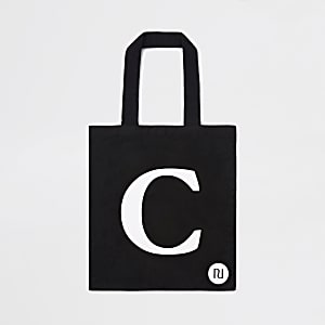 Black 'C' initial shopper tote bag