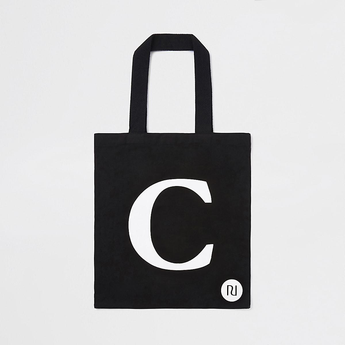 """Schwarze Shopper-Tasche mit """"C"""""""