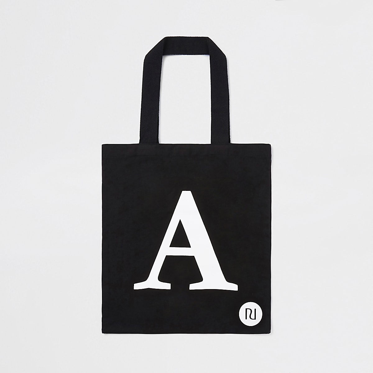 Black 'A' initial shopper tote bag