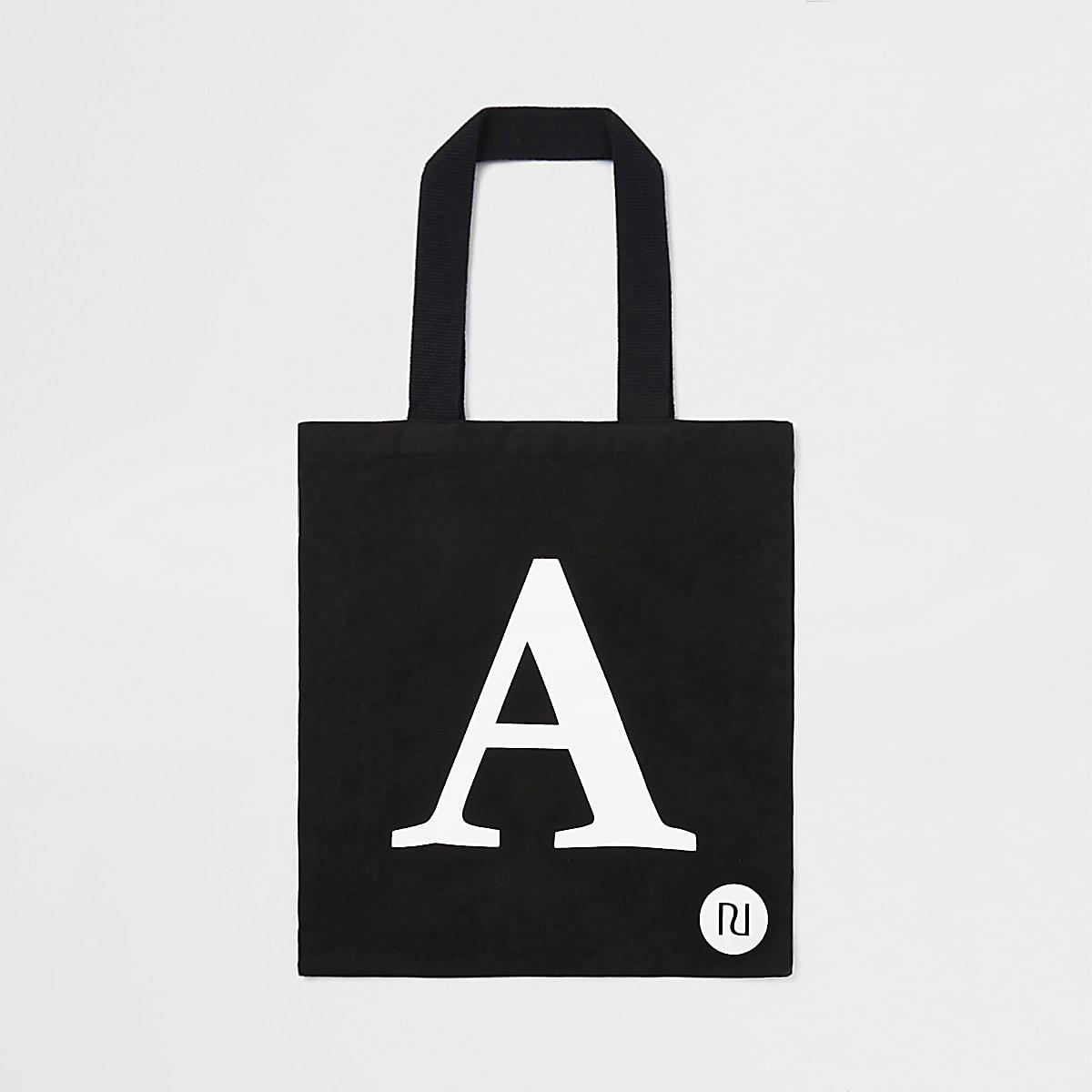 Cabas noir avec lettre A