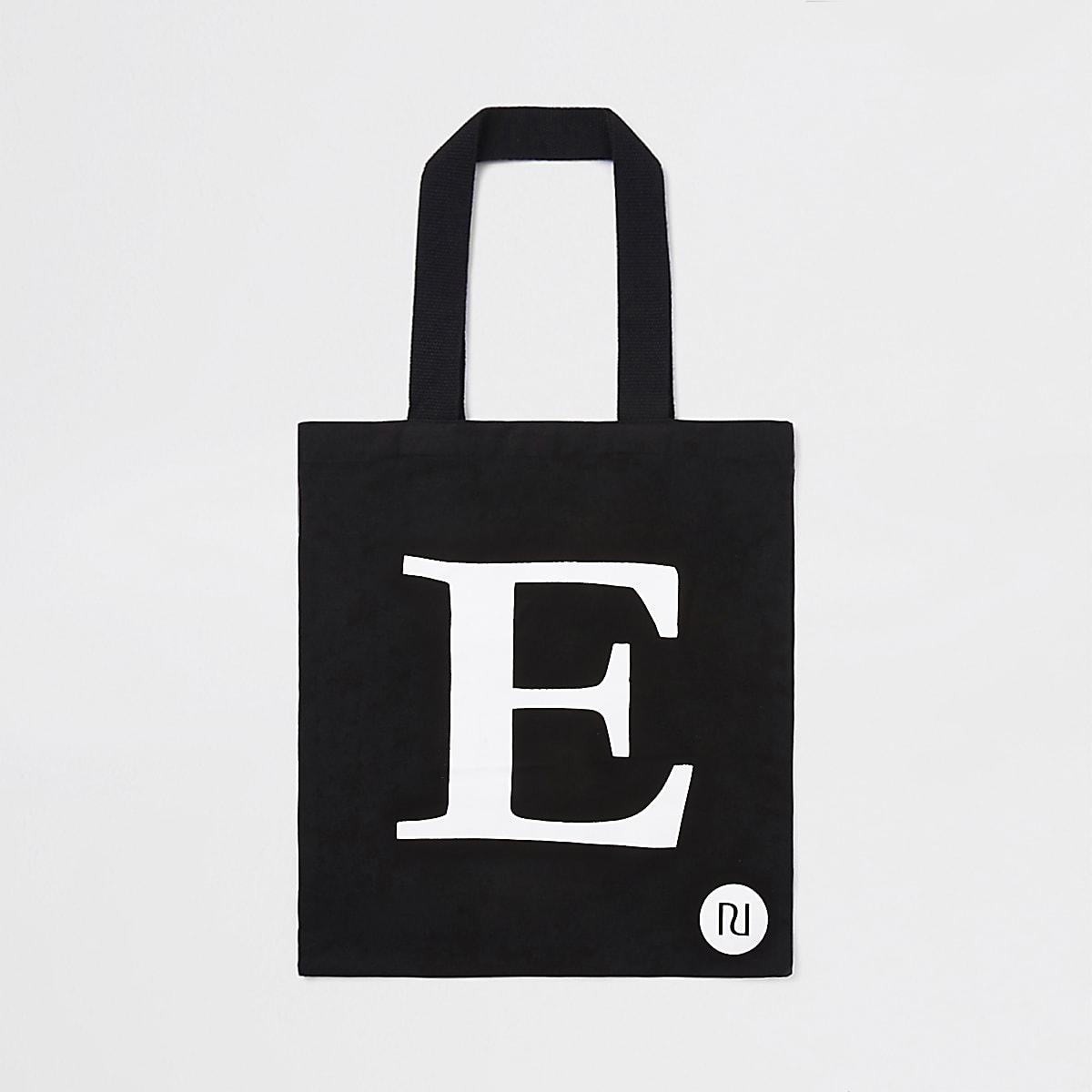"""Schwarze Shopper-Tasche mit """"E"""""""