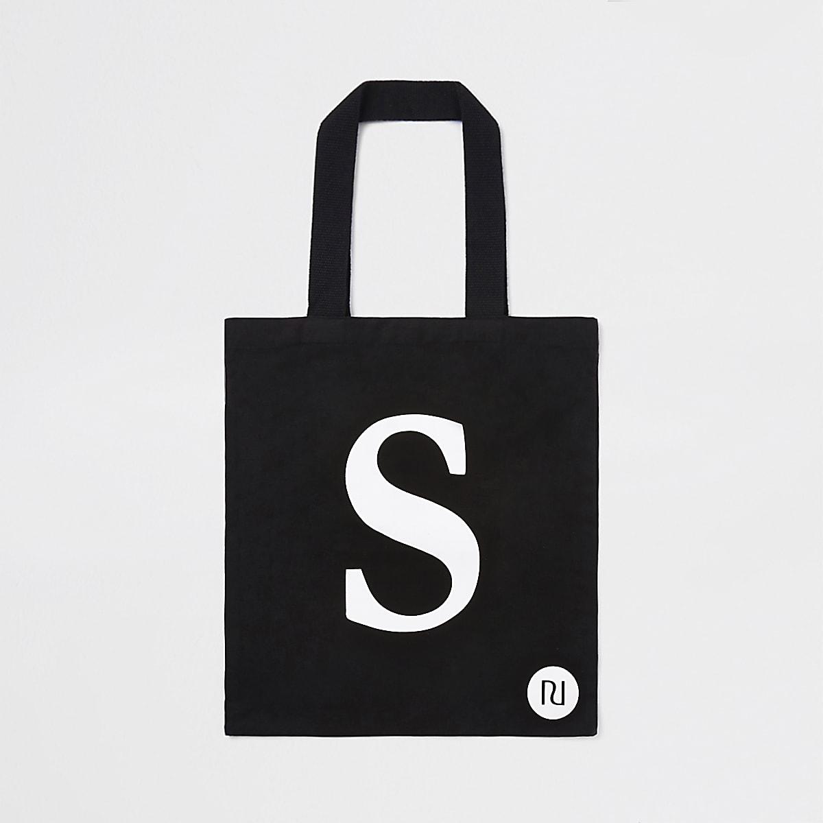 """Schwarze Shopper-Tasche mit """"S"""""""