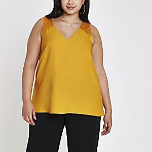 Plus orange V neck sleeveless bar back top