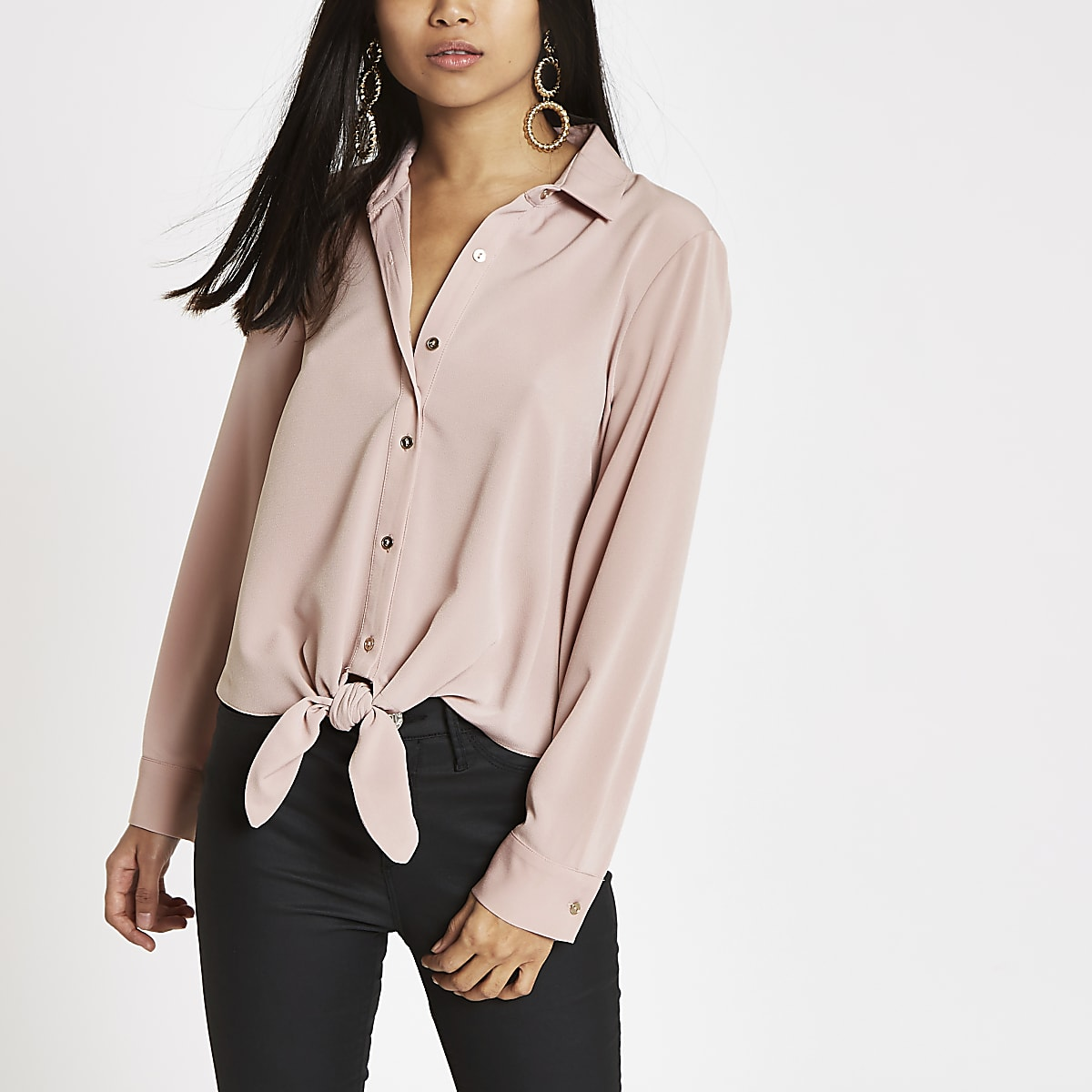 Petite pink tie front long sleeve shirt