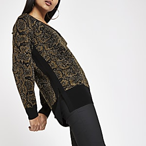 Petite khaki snake print V neck jumper