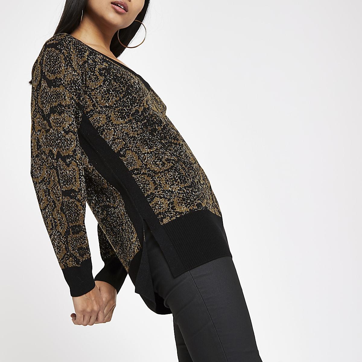 Petite khaki snake print V neck sweater