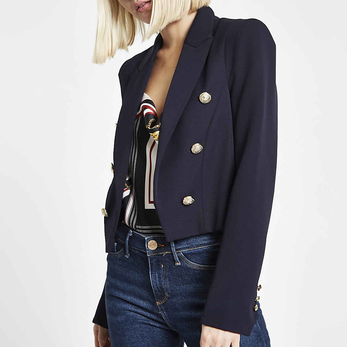 Navy Button Detail Double Breasted Blazer Blazers Coats
