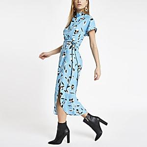 Blauwe getailleerde midi-jurk met bloemenprint