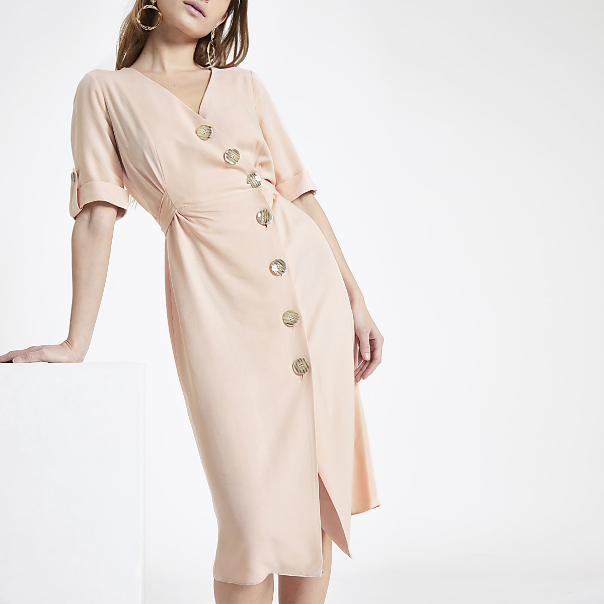 RI Petite - Midi-jurk met knopen voor