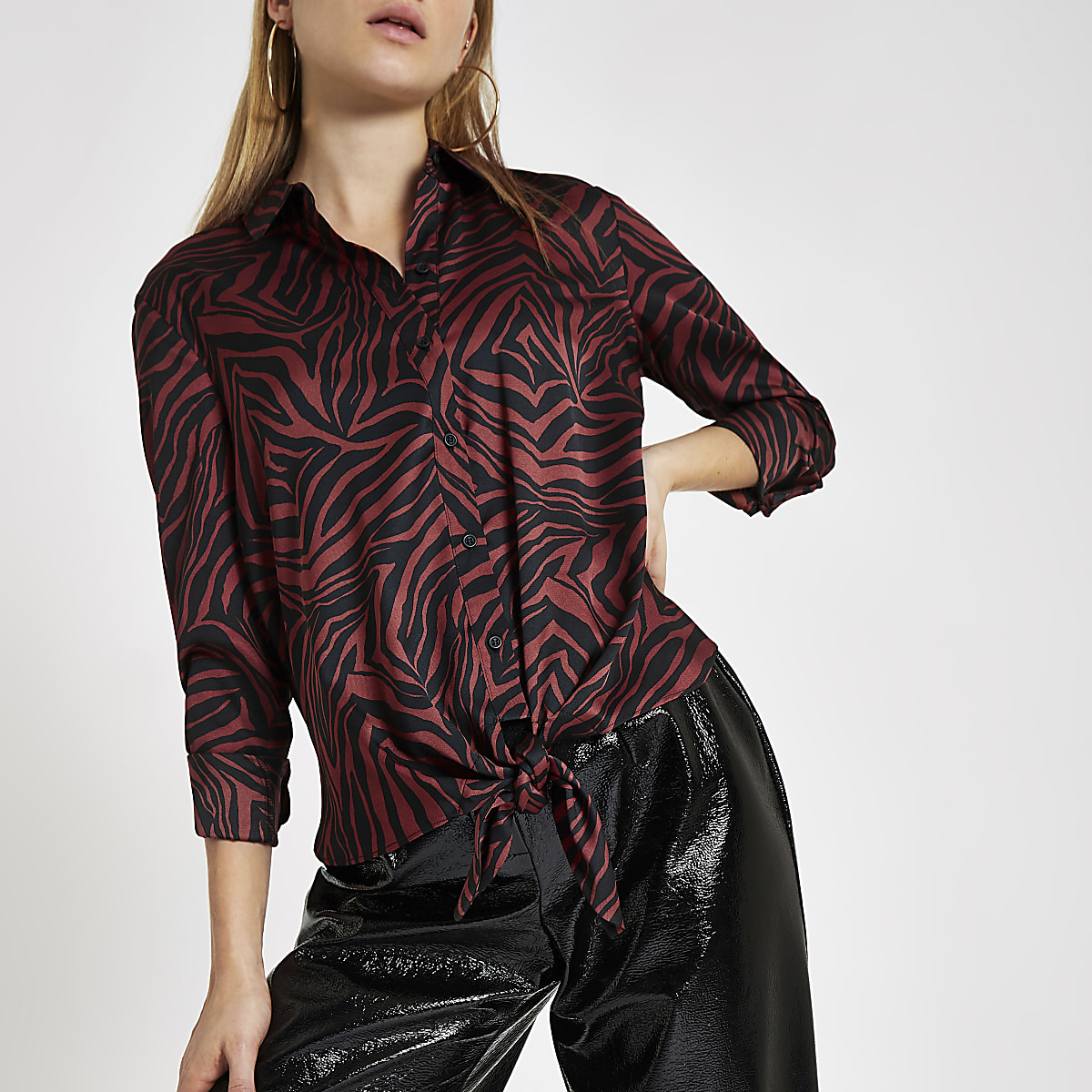 Brown zebra print tie front shirt