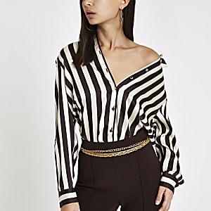 Brown stripe oversized long sleeve shirt