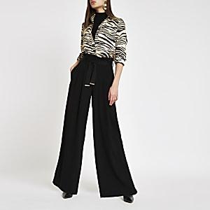Pantalon large noir noué à la taille