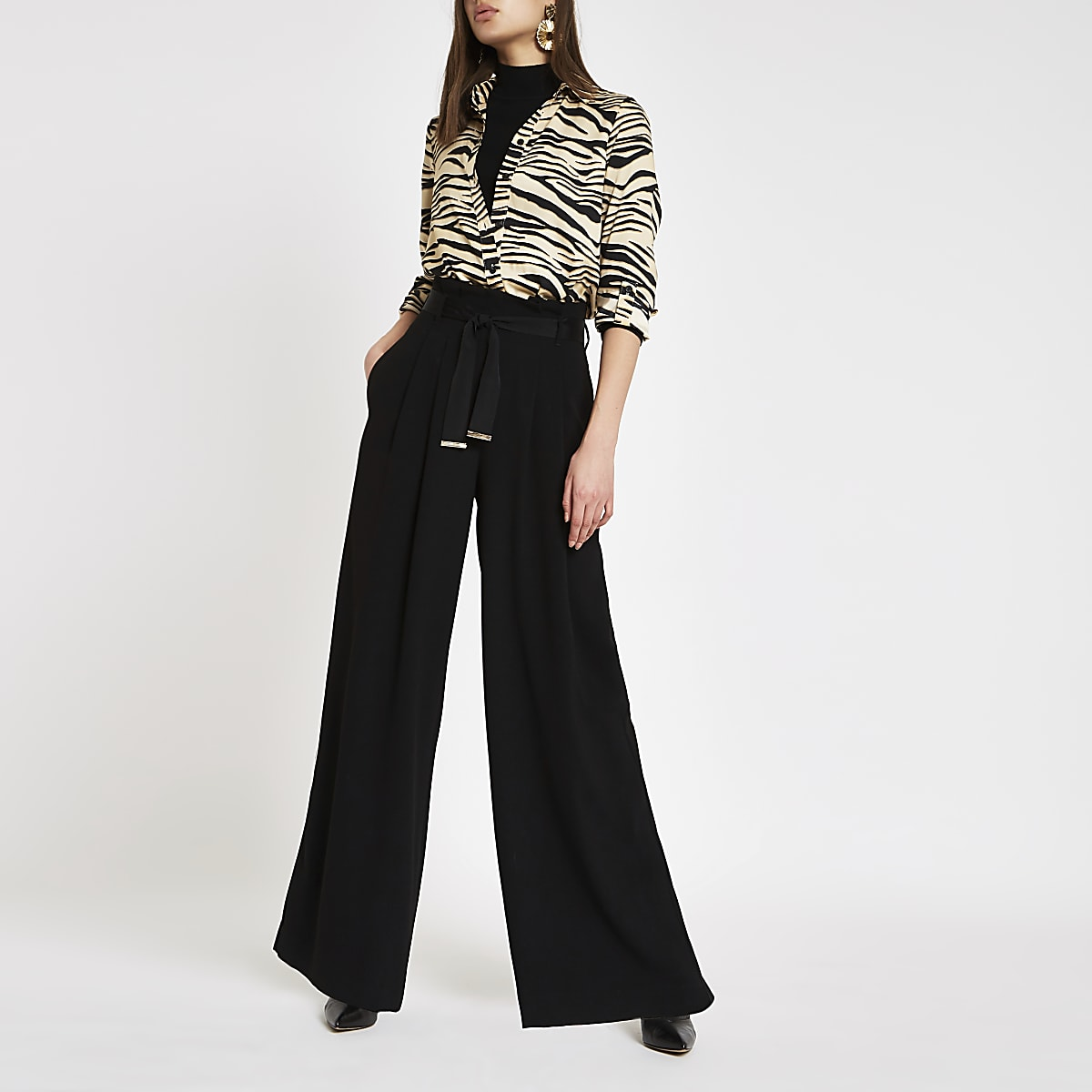 Black tie waist wide leg trousers