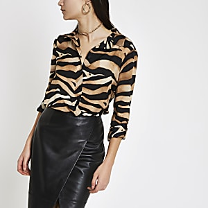 Brown zebra print oversized button-up shirt