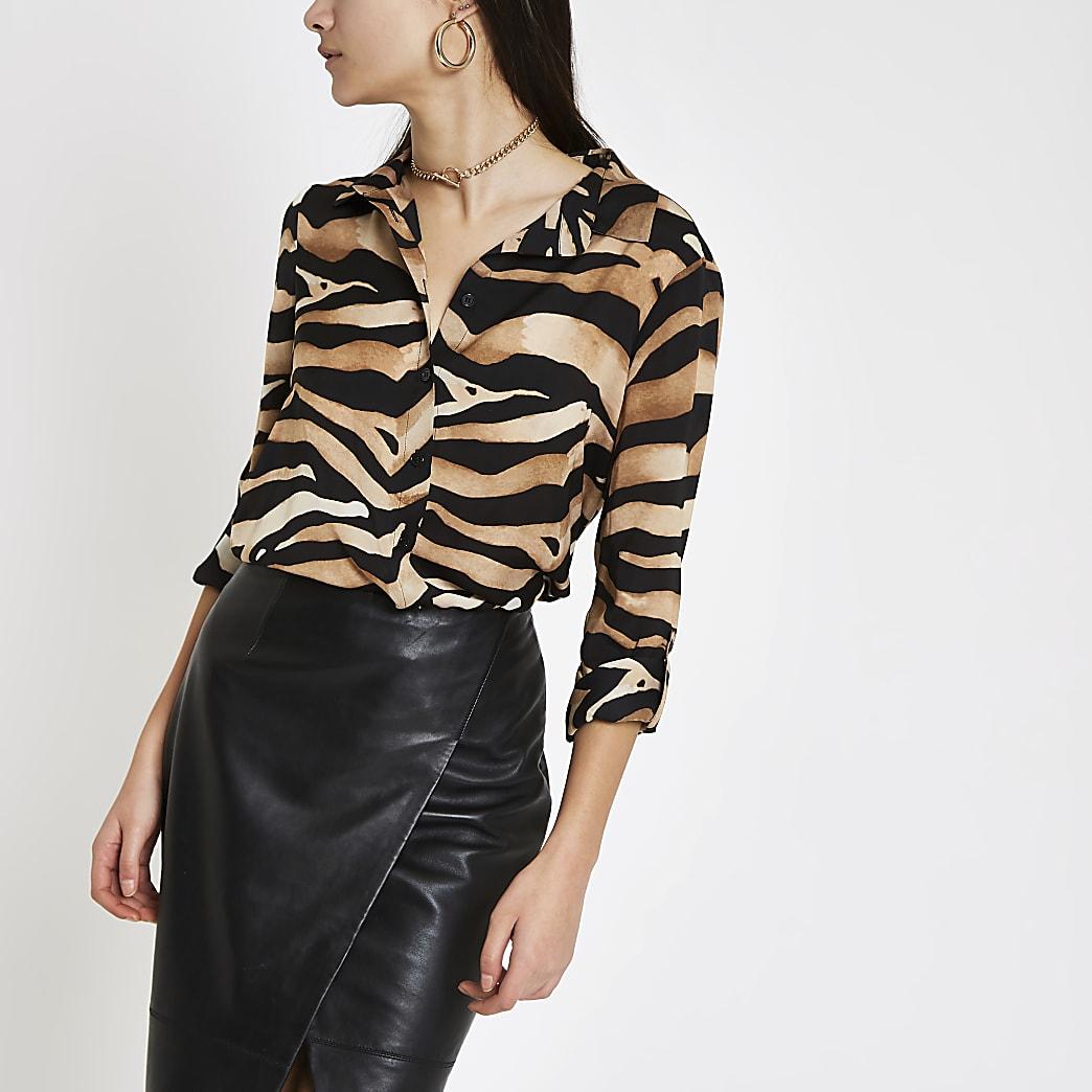 Brown zebra print oversized button-up shirt