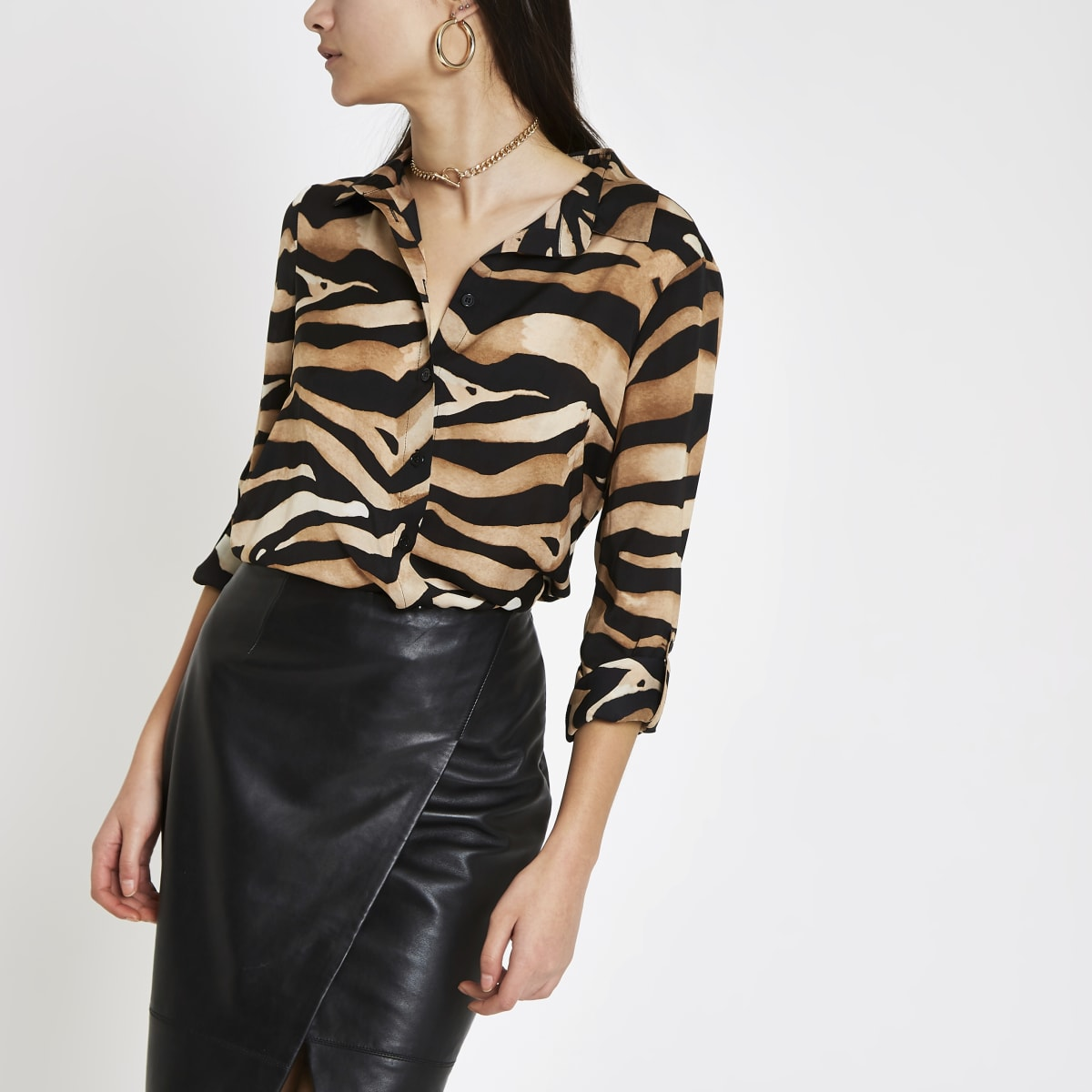 Bruin oversized overhemd met zebraprint en knopen