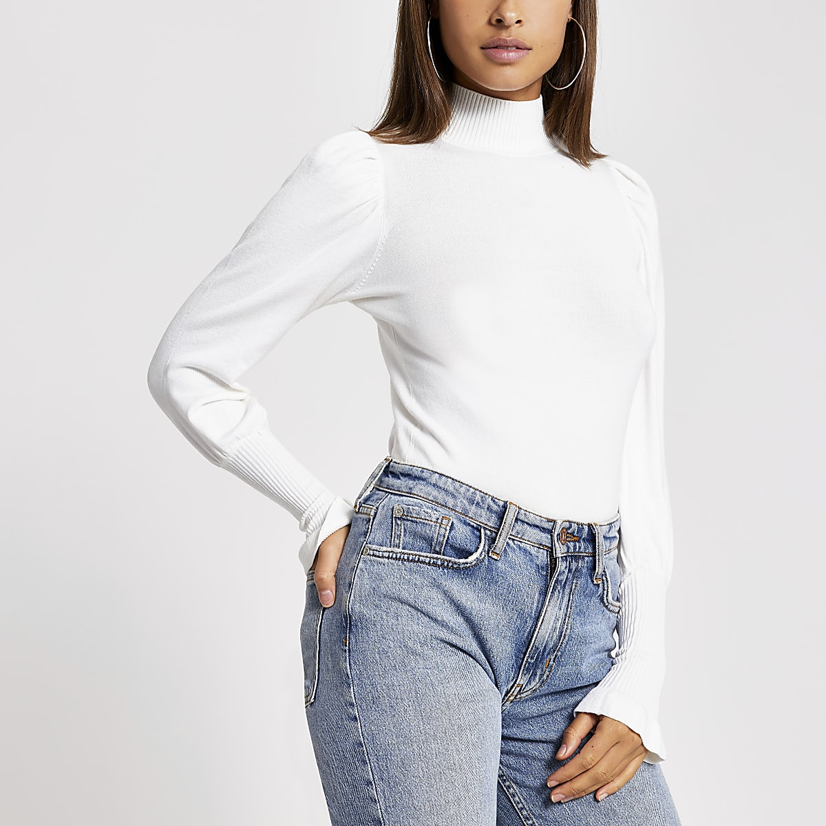 Cream turtle neck long sleeve jumper