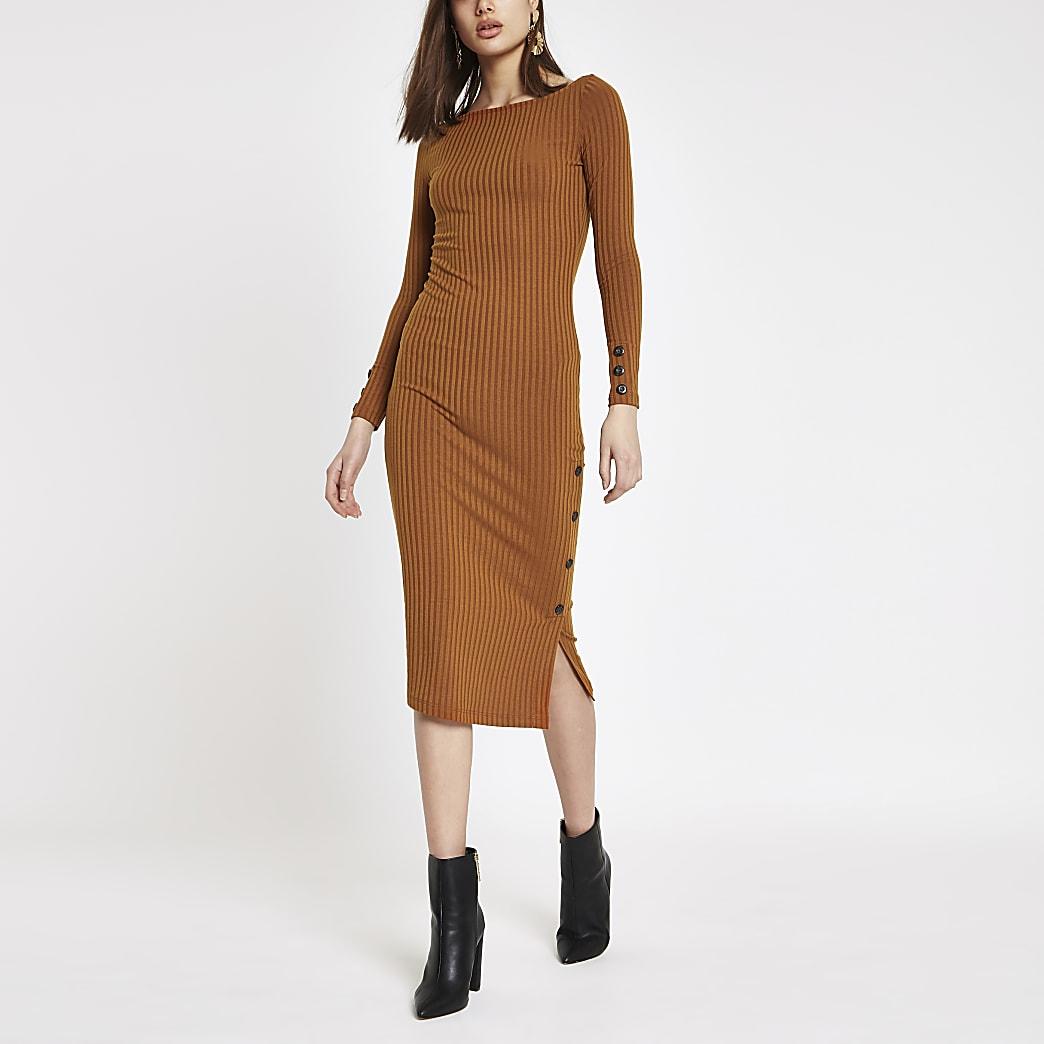 Dark orange rib button side midi dress