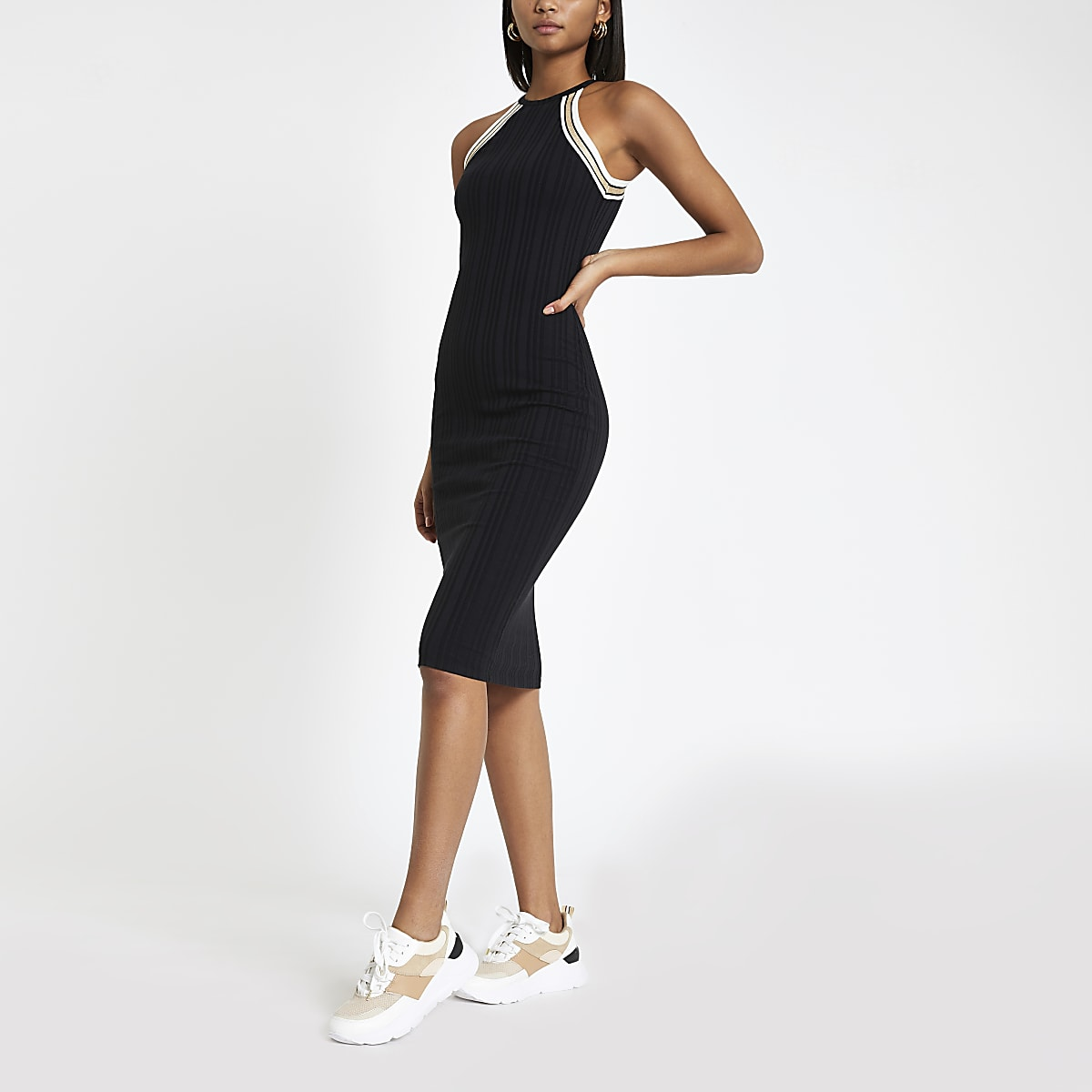 f1b63dc510c0d Black halter neck midi bodycon dress - Bodycon Dresses - Dresses - women
