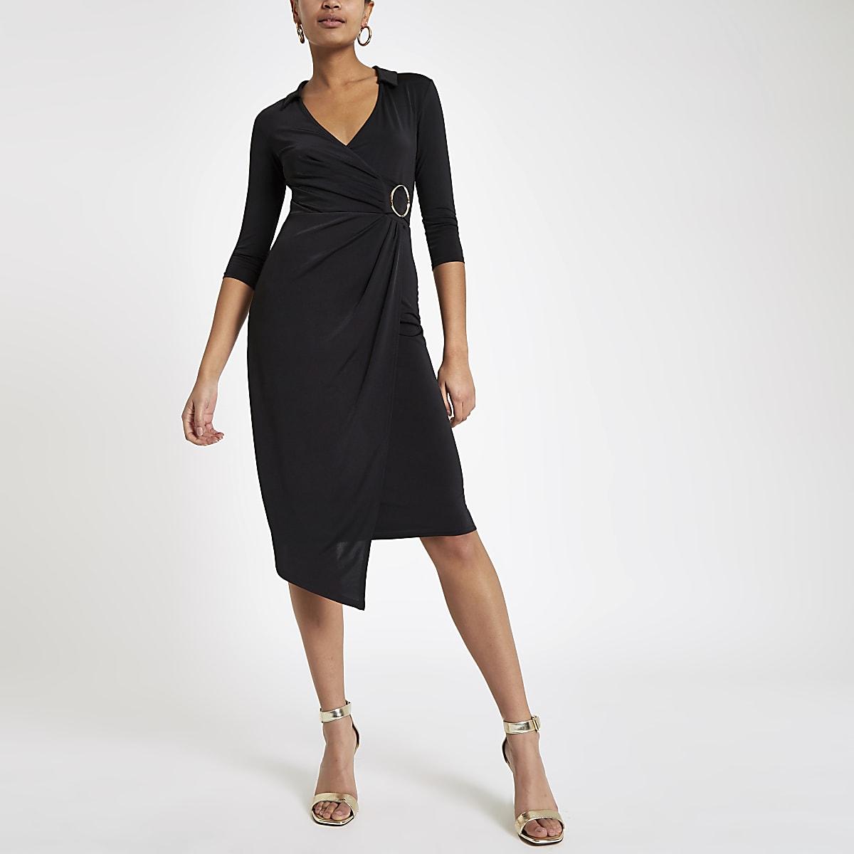 Black ring detail wrap dress