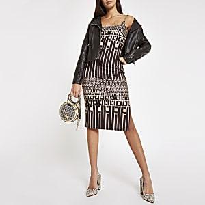 Bruine bodyconmidi-jurk met RI-logo