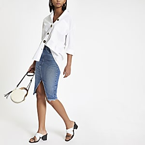 Blue denim split front midi skirt