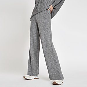 Grey knit wide leg trousers