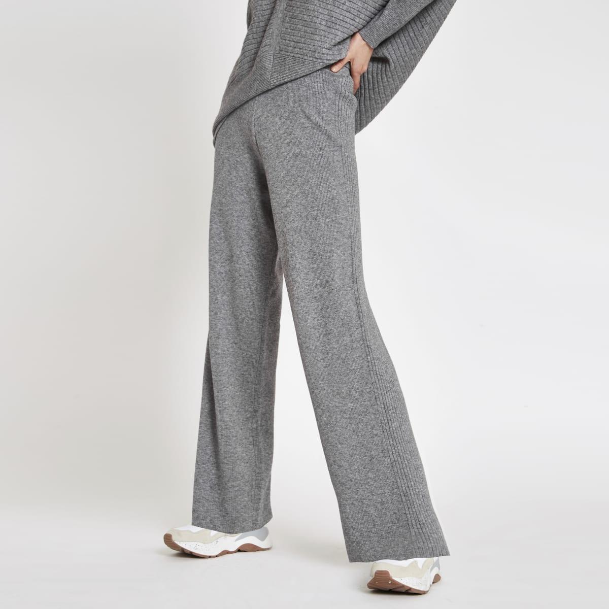 Grey knit wide leg pants