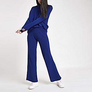 Blauwe gebreide broek met wijde pijpen