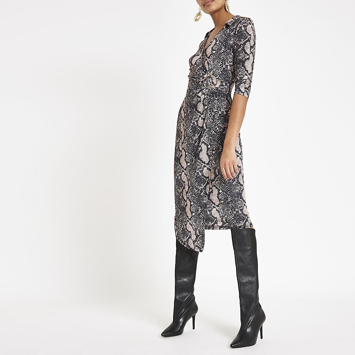 Brown snake print wrap front midi dress