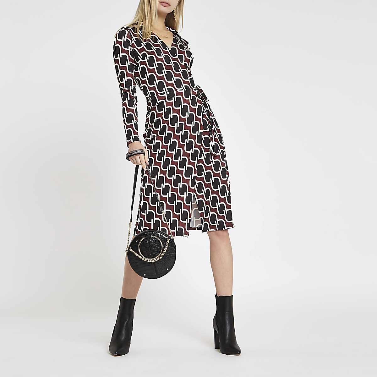 Brown print tie waist wrap dress