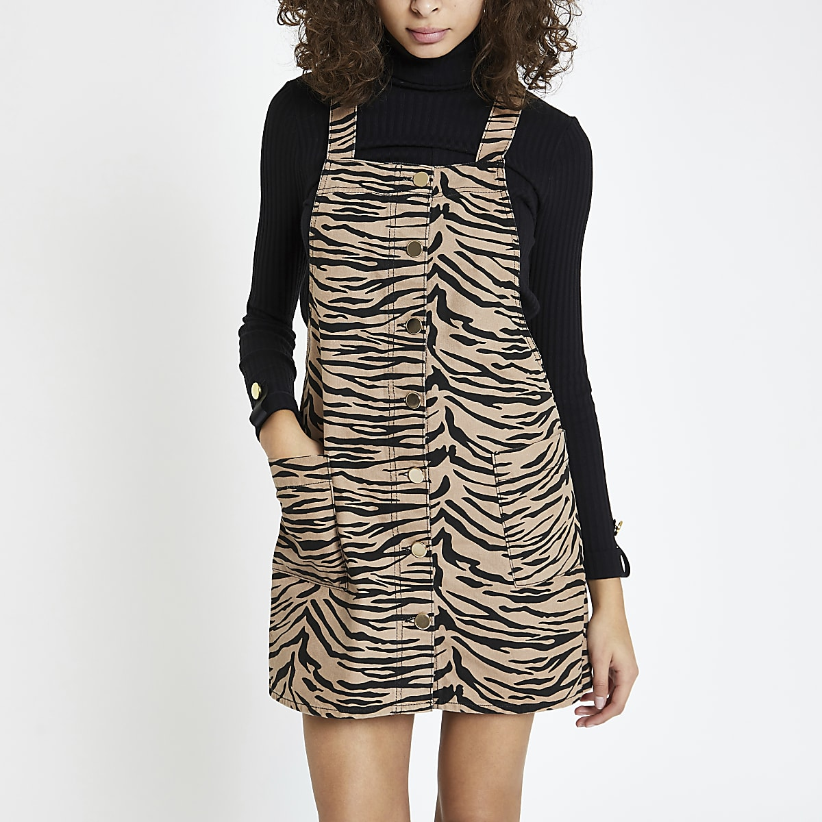 Brown zebra print dungaree dress