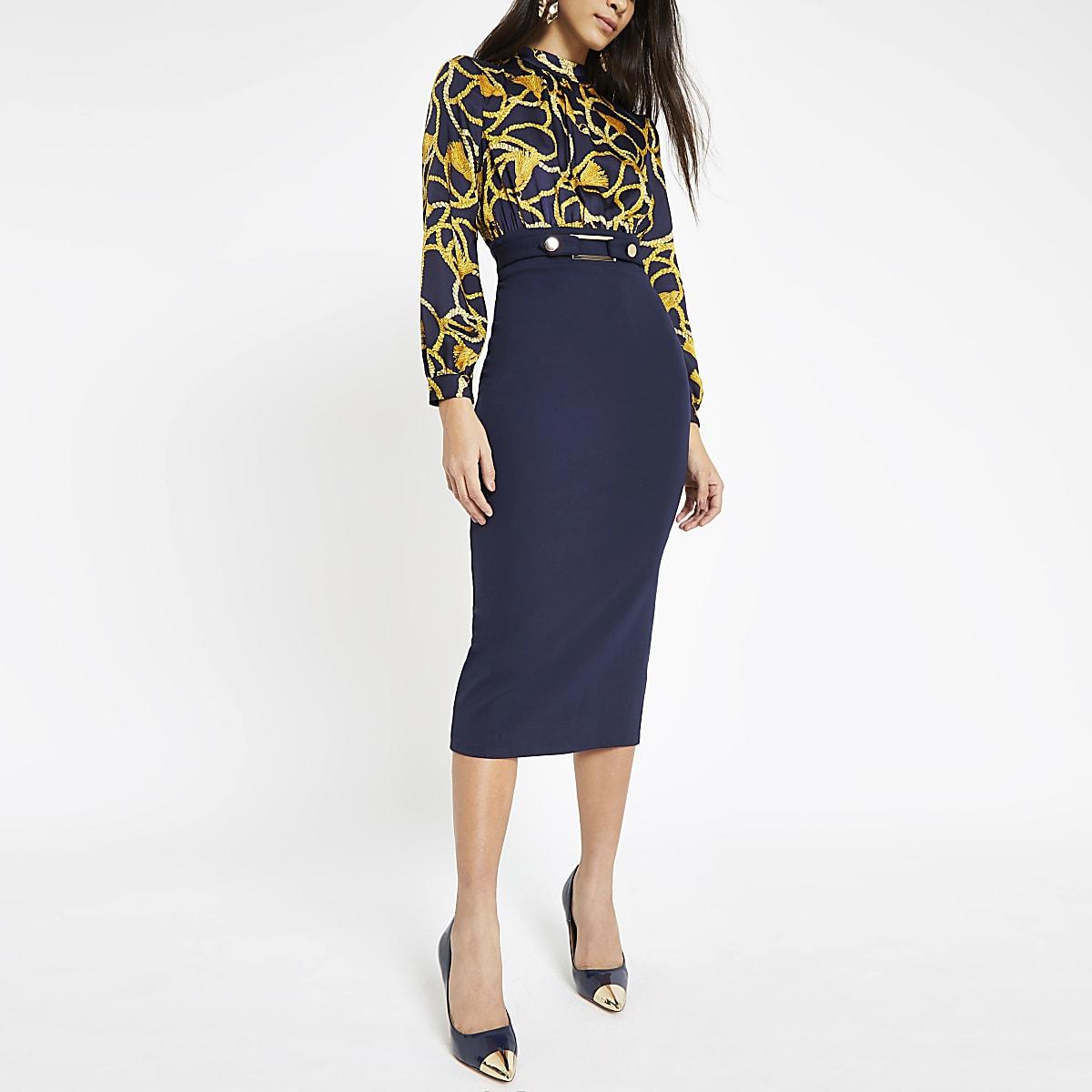 Navy chain print high neck dress
